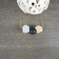 14k gold filled black lava rock, white jade & wooden hedron curved bar necklace / bridesmaid / minimalist / dainty / essential oil diffuser