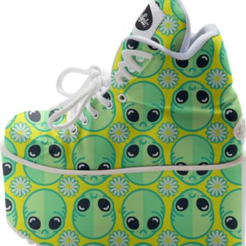 Sad Alien and Daisy Nineties Pattern created by chobopop | Print All Over Me