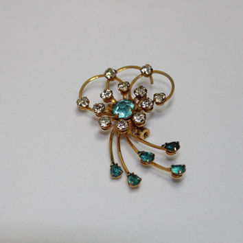 Vintage Rhinstone Teal Blue Gemstone Brooch Pin screw back earrings ladies costume jewelry high fashion