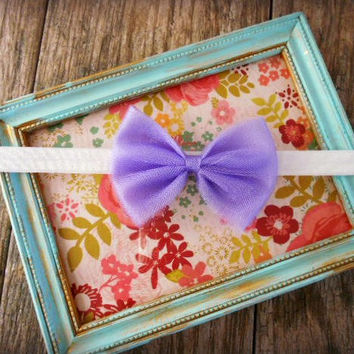 Newborn Bow Headband, Baby Girls Tutu Tulle Headband, Baby Shower Gift, Purple Tutu Headband, Toddler Hair Accessories, Baby Girls Headband