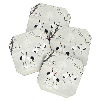 Belle13 Winter Love Dance Of Japanese Cranes Coaster Set