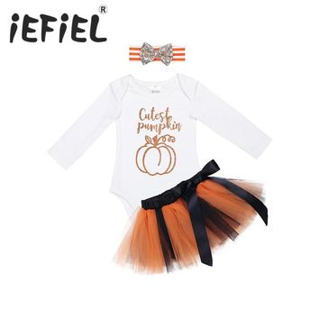 Infant Baby Girls Shiny Halloween Pumpkin Cosplay Outfits Romper with Tutu Skirt and Headband for Costumes Party Prom Clothes