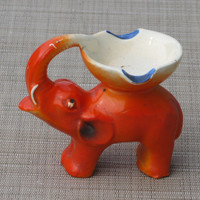 Very Old Orange Elephant Ashtray