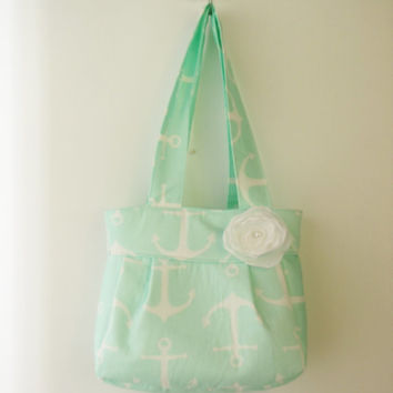 Mint Anchor Nautical Folklore Bag - Handbag - Regular Straps or Crossbody Strap - Summer Purse