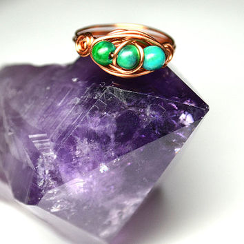 Azurite Chrysocolla Wire Ring Copper Sterling Silver Silver Plated Metaphysical Stone Ring Natural Ring Blue Gemstone Healing Stone Triple