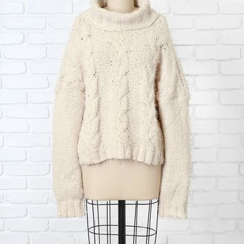 Beige Cable Knit Turtleneck Sweater