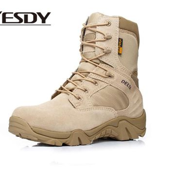 Men Quality Brand Military Leather Boots Special Force Tactical Desert Combat Boats Outdoor Shoes HYE516D
