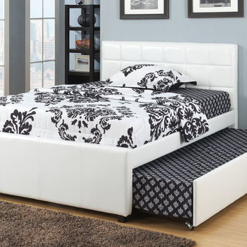 Poundex F9216T White faux leather twin size bed with twin size trundle bed, slat kits included