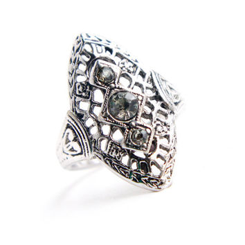 Vintage Silver Tone Rhinestone Filigree Cocktail Ring -  Size 6 Art Deco Stye HGE Signed Vargas Costume Jewelry / Statement Shield