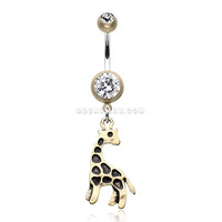 Vintage Boho Giraffe Belly Button Ring (Brass/Clear)