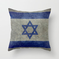 The National flag of the State of Israel - Distressed worn version Throw Pillow by LonestarDesigns2020 - Flags Designs +