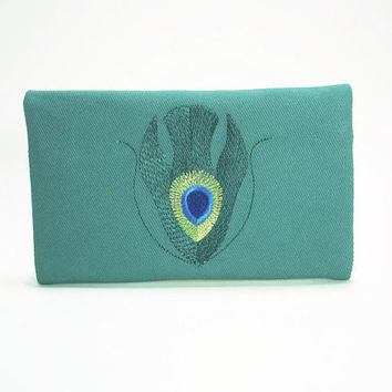 Teal Clutch/Wallet With Embroidered Peacock Design/Zipper Wallet in Teal/Peacock Zip Wallet/Peacock Clutch/IPhone Pouch