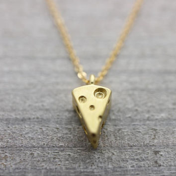 Cheese gold necklace