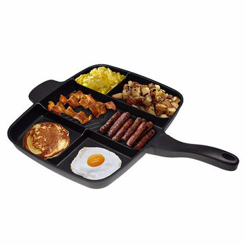 Fryer Pan Non-Stick 5 in 1 Fry Pan Divided Grill