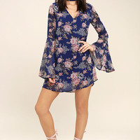 Feeling of Love Royal Blue Floral Print Shift Dress
