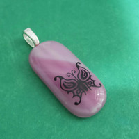 Pink Butterfly Pendant, Omega Slide, Pink Fused Glass, Butterfly Jewelry on Etsy - Ashlee - -5