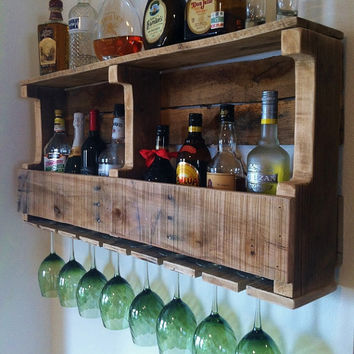 Rustic Wine Rack, Extra Wide Liquor Cabinet Reclaimed Wood Handm
