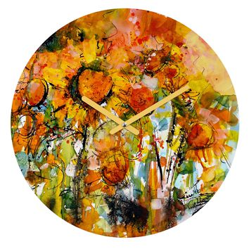 Ginette Fine Art Abstract Sunflowers Round Clock
