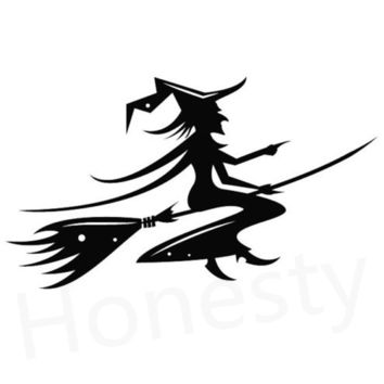 Witch Flying on A Broom Car Wall Home Glass Window Door  Car Sticker Auto Truck Laptop Black Vinyl Decal Sticker Decor Gift