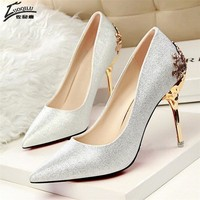 Sexy High Heels Shoes Woman Pumps Red Gold Silver High Heels Shoes Woman Ladies Wedding Party Shoes 2018