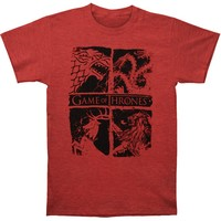 Game Of Thrones Men's  Four House Sigils T-shirt Heather