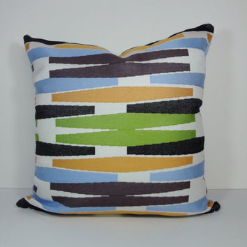 Designer Pillow Cover, Sunbrella, Alaxi, Blue, Sky Blue, Orange, Green, Retro Decorative Cushion Cover, 20 x 20