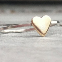 Tiny Gold Heart Stack Ring -Sterling Silver with 14k Gold Filled Heart-Bridesmaid Gift-Promise Ring