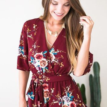 Wine and Dine Floral Romper