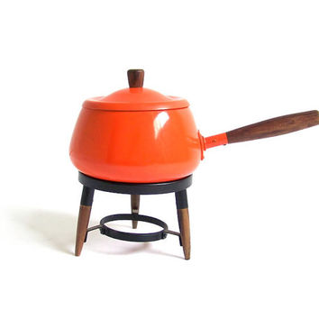 Vintage Fondue Pot Orange Fondue Pot Retro Fondue Set Mid Century Modern Scandinavian Decor Danish Modern Retro Cooking Mid Century Kitchen