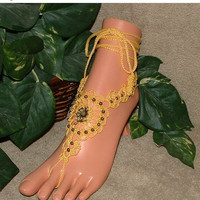 SALE Crochet, Sunflower, Foot Jewelry, Barefoot Sandals, Anklet, Wedding, Jewelry, Footless, Flower, Beach Sandal, Charms