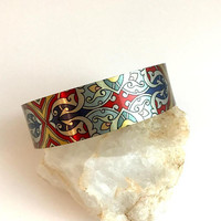 Multicolor Wide Art Cuff Bracelet, adjustable printed bohemian silver bangle stacking colorful hippie sublimation gift for wife girlfriend