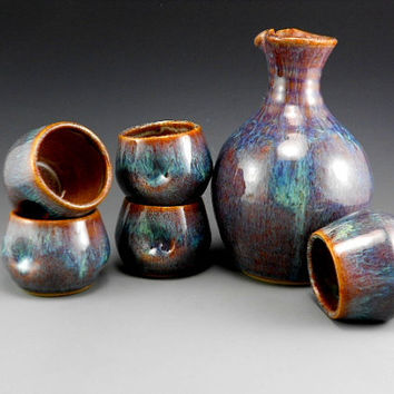 Sake Set. Pitcher and 5 cups A