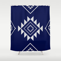 Navy Aztec Shower Curtain by Nicole Davis
