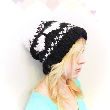 The Ainsley Slouch - In Valentines Hearts Fair Isle Print - Valentines Hat - Heart Hat - In Black and Cream