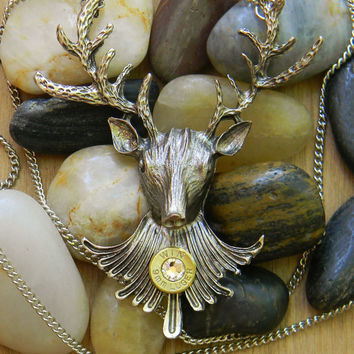 Deer Head Necklace, Bullet Necklace, Bullet Jewelry, Outlaw Glam