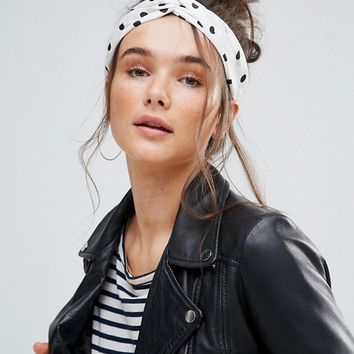 Pia Rossini Polka Dot Tie Oblong Headband at asos.com