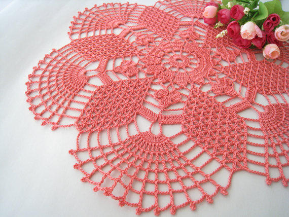 Crochet Doily Rose Pink Lace Table From Dosymphony Products In
