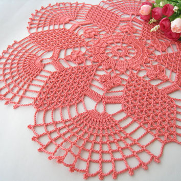 Crochet Doily Rose Pink Lace Table Centerpiece Tablecloth Daisy Flower Pattern Shabby Chic Home Decor Unique Gift