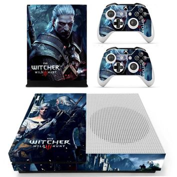The Witcher 3: Wild Hunt Vinyl Skin Sticker for the Xbox One S Console With Two Wireless Controller Decals