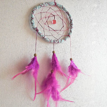 Dream Catcher - Violet Spring - With Roze Gemstone, Pure Pink Feathers and Blue Frame - Home Decor, Nursery Mobile