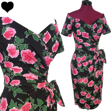 Dress Vintage 80s 50s ROSES Pink Black Cocktail Party PROM Dress S Pinup Rockabilly