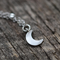 Dainty Moon Necklace,  Bohemian Necklace, Gypsy Jewelry, Tiny Moon Necklace, Crescent Moon Necklace