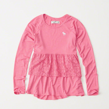 girls tiered lace tee | girls clearance | Abercrombie.com