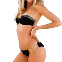 Black Bikini Rhinestone Push up Top Gold Strap Bottom Swimwear Bathing Suit M