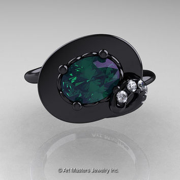 Art Nouveau 14K Black Gold 1.0 Ct Oval Alexandrite Diamond Nature Inspired Engagement Ring R296-14KBGDAL