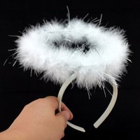 Fluffy Halo Angel Head Band Hen Night Angel Fairy Xmas Fancy Dress Party