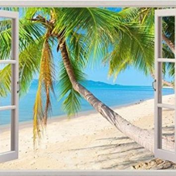 "Palm Trees Vacation Ocean Beach Sea Scape View Home Office Kitchen Kids Nursery Room Gift 3D Unique Window Depth Style Vinyl Print Removable Wall Sticker Decal Mural Size 33.5"" x 47"" by Bomba-Deal"