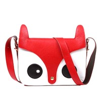 Owl Fox Face Shaped Animal Themed Cross body Shoulder Bag for Women in Red