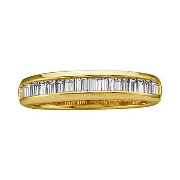 14kt Yellow Gold Women's Baguette Diamond Wedding Anniversary Band 1/2 Cttw - FREE Shipping (US/CAN)