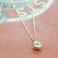 6.5mm Cubic Zirconia simple Necklace . tiny gold filled Jewelry.
